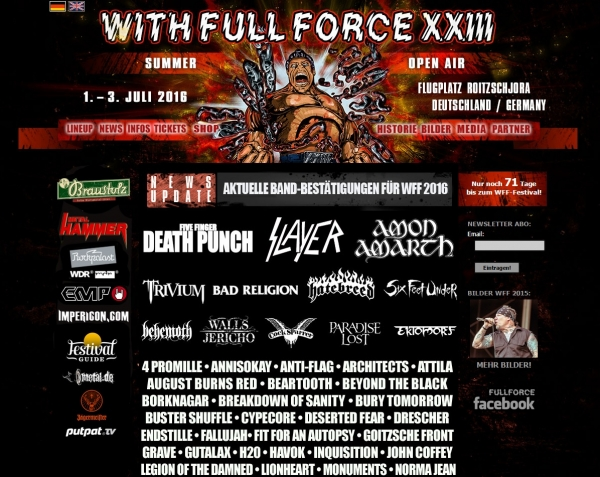 Trivium auf dem With Full Force 2016! ----- Eventuell 2 Headline Shows im Sommer!